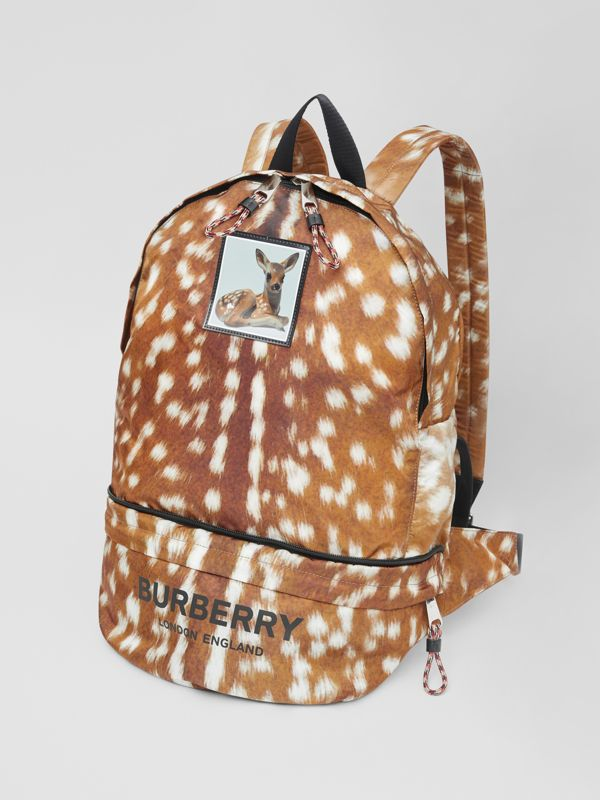 Deer Print Convertible Bum Bag in Tan/white | Burberry - cell image 3