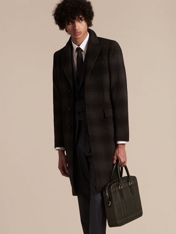 Medium Leather Trim London Check Briefcase in Chocolate/black - Men | Burberry - cell image 2