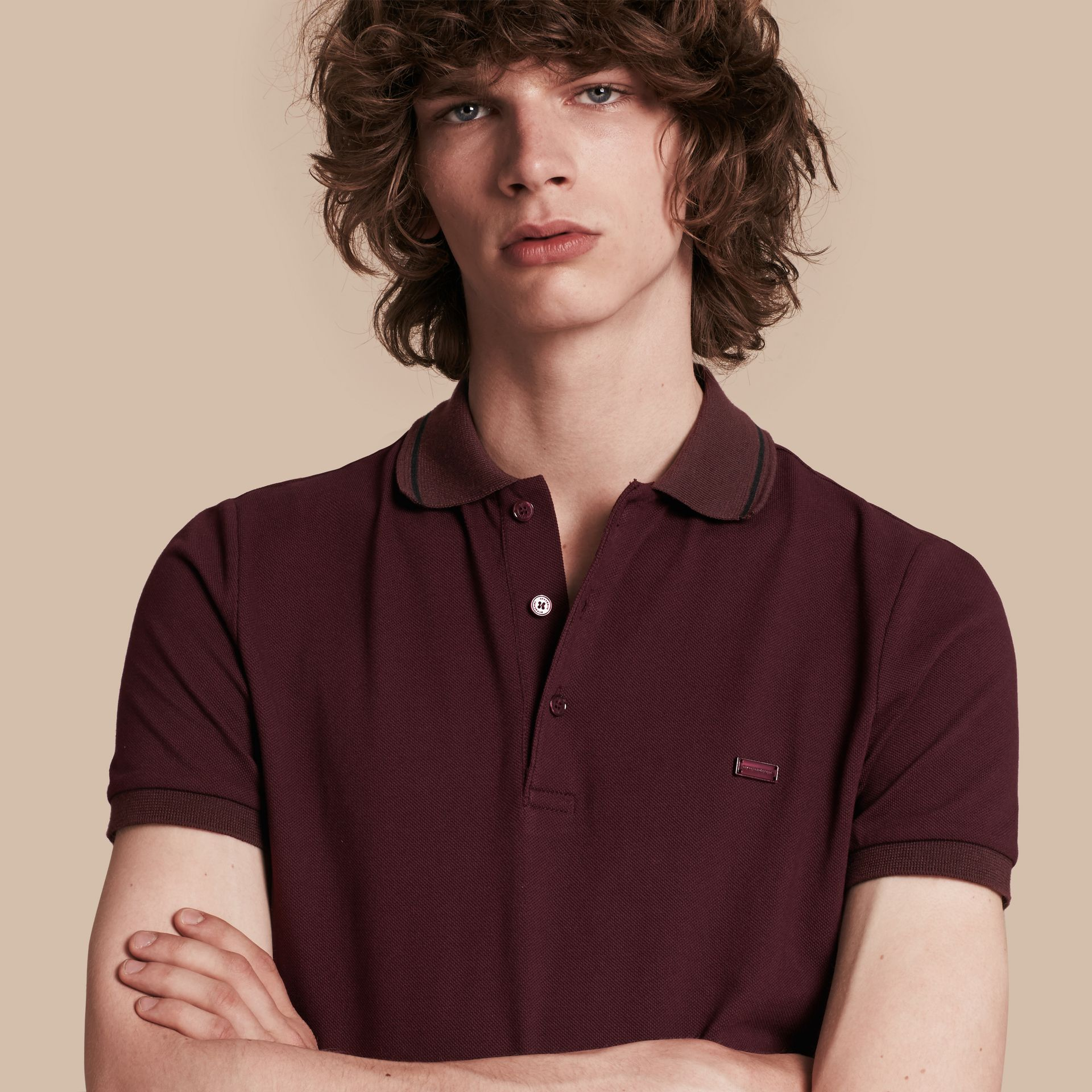 Burgundy red/black Contrast Trim Cotton Piqué Polo Shirt Burgundy Red/black - gallery image 1