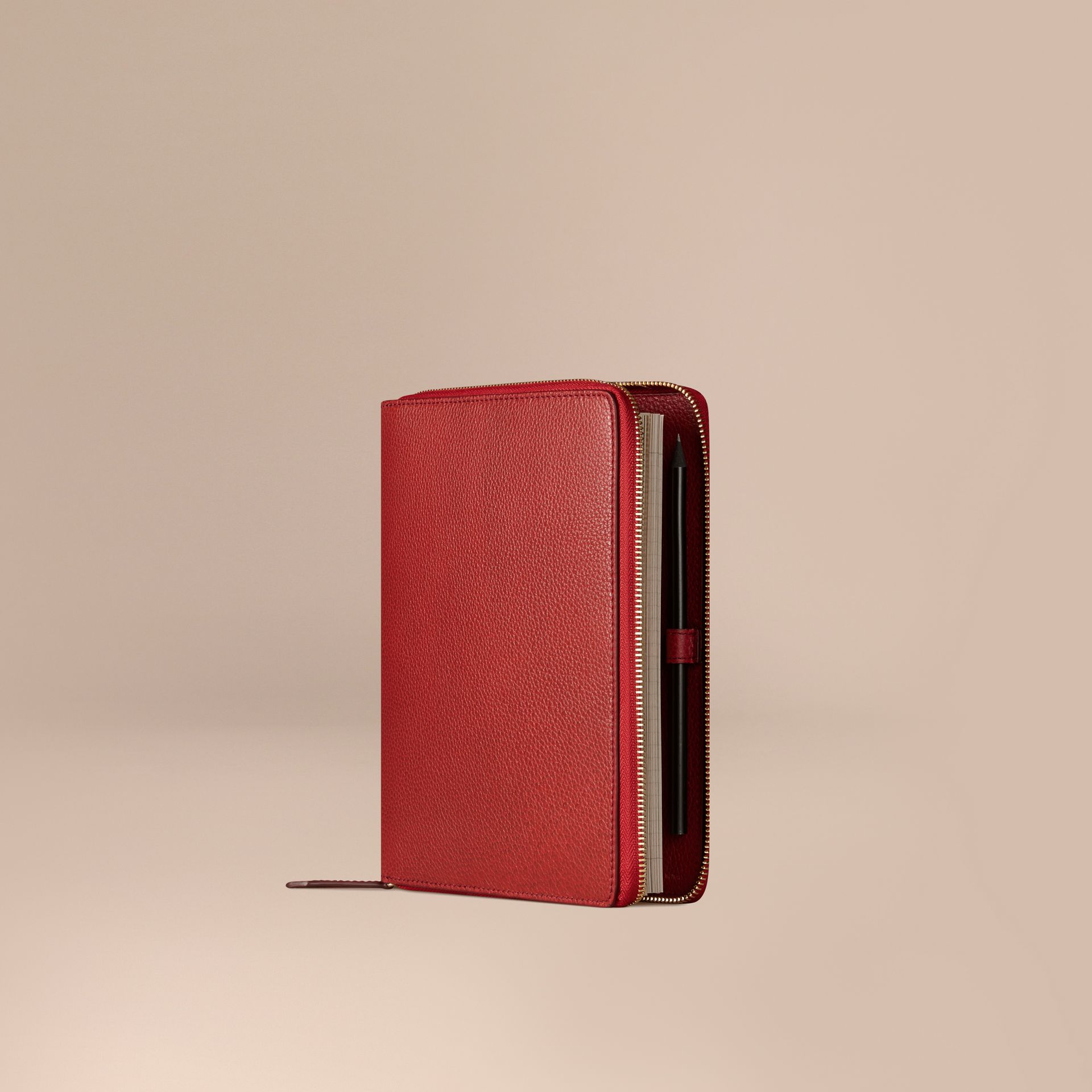 Ziparound Grainy Leather A5 Notebook in Parade Red | Burberry - gallery image 1