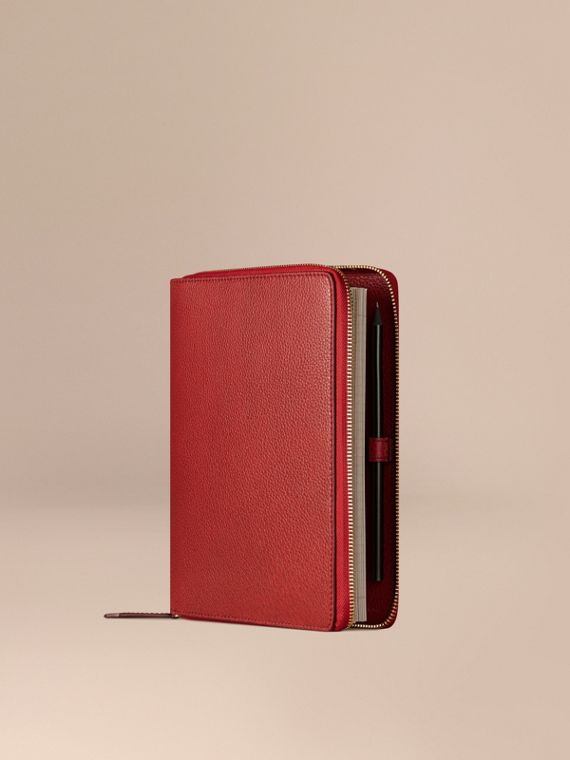 Ziparound Grainy Leather A5 Notebook Parade Red