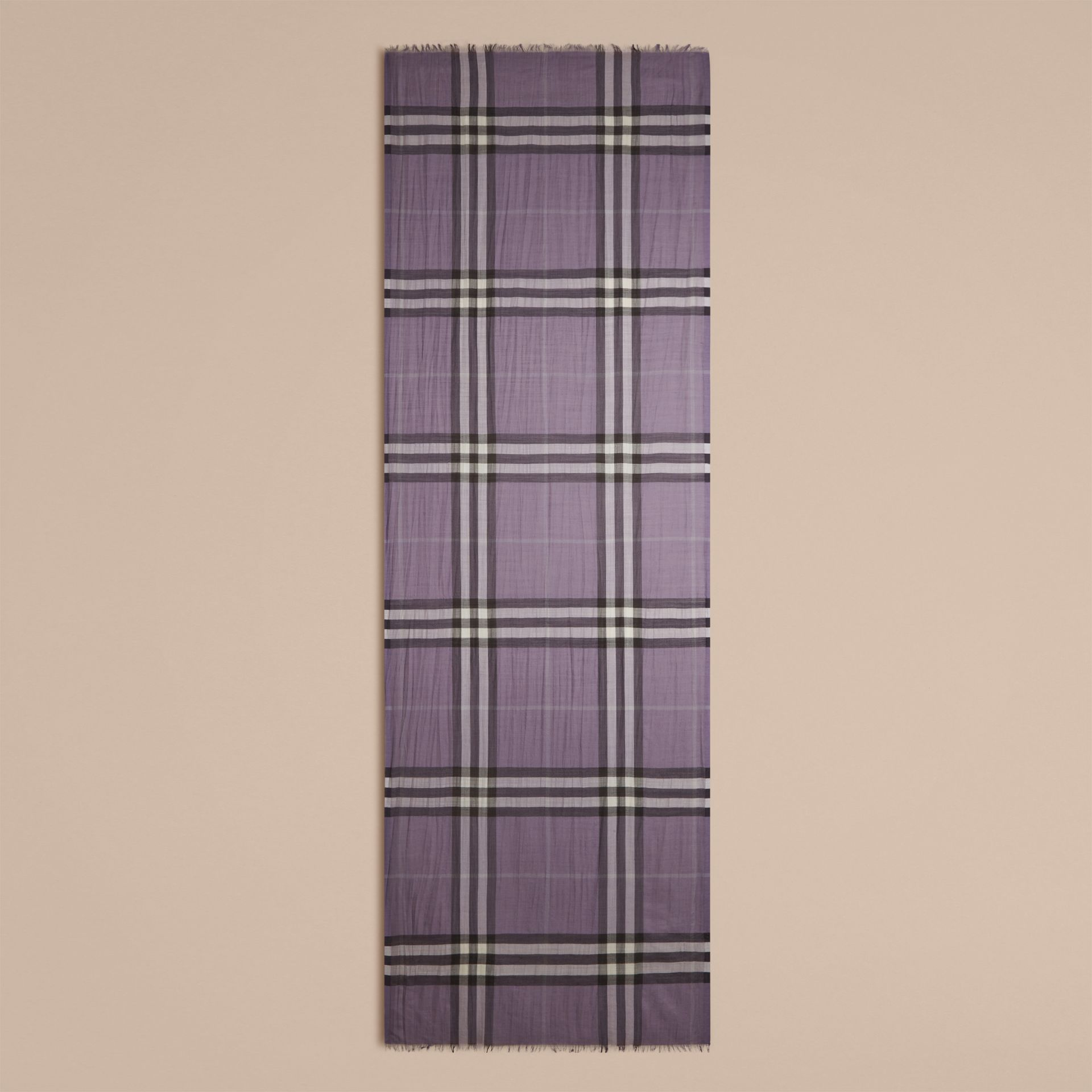 Lilac Lightweight Check Wool and Silk Scarf Lilac - gallery image 5
