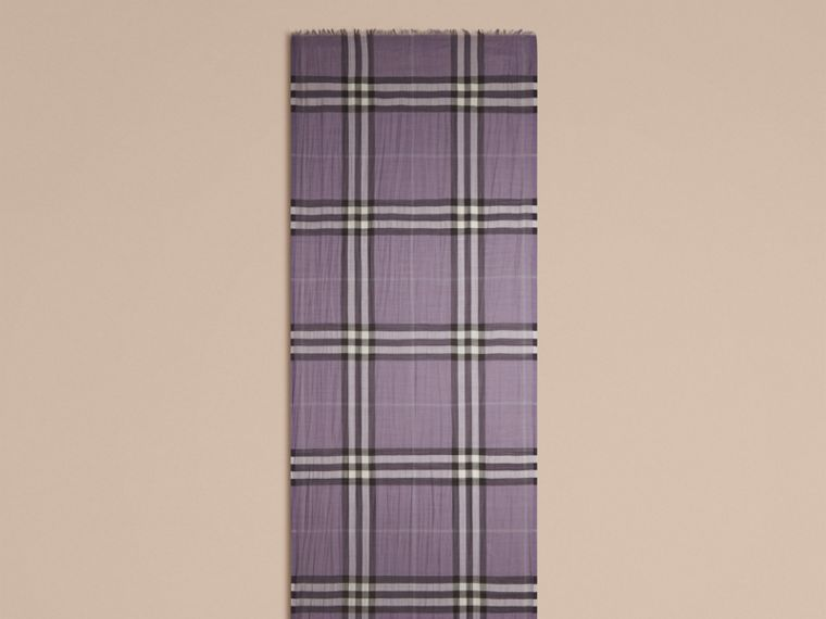 Lilac Lightweight Check Wool and Silk Scarf Lilac - cell image 4