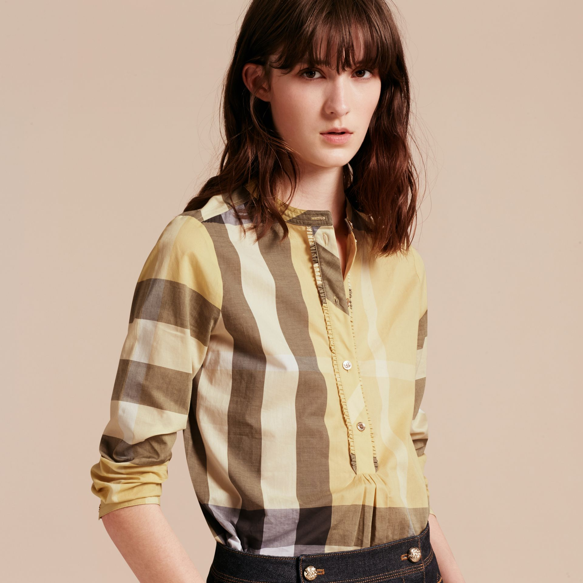 Camomile yellow Check Cotton Tunic Shirt - gallery image 6
