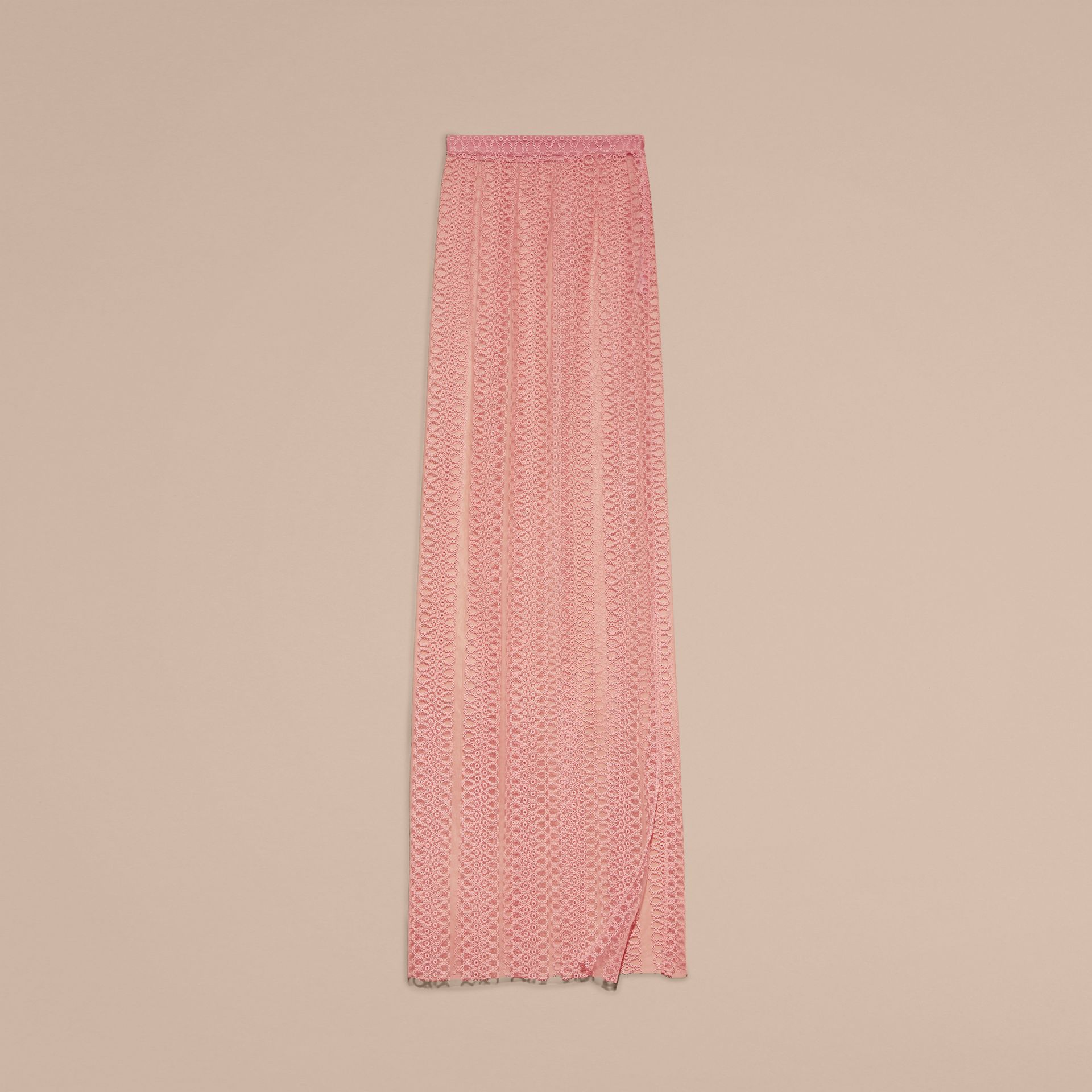Pale rose Braided Stripe Tulle Column Skirt - gallery image 4