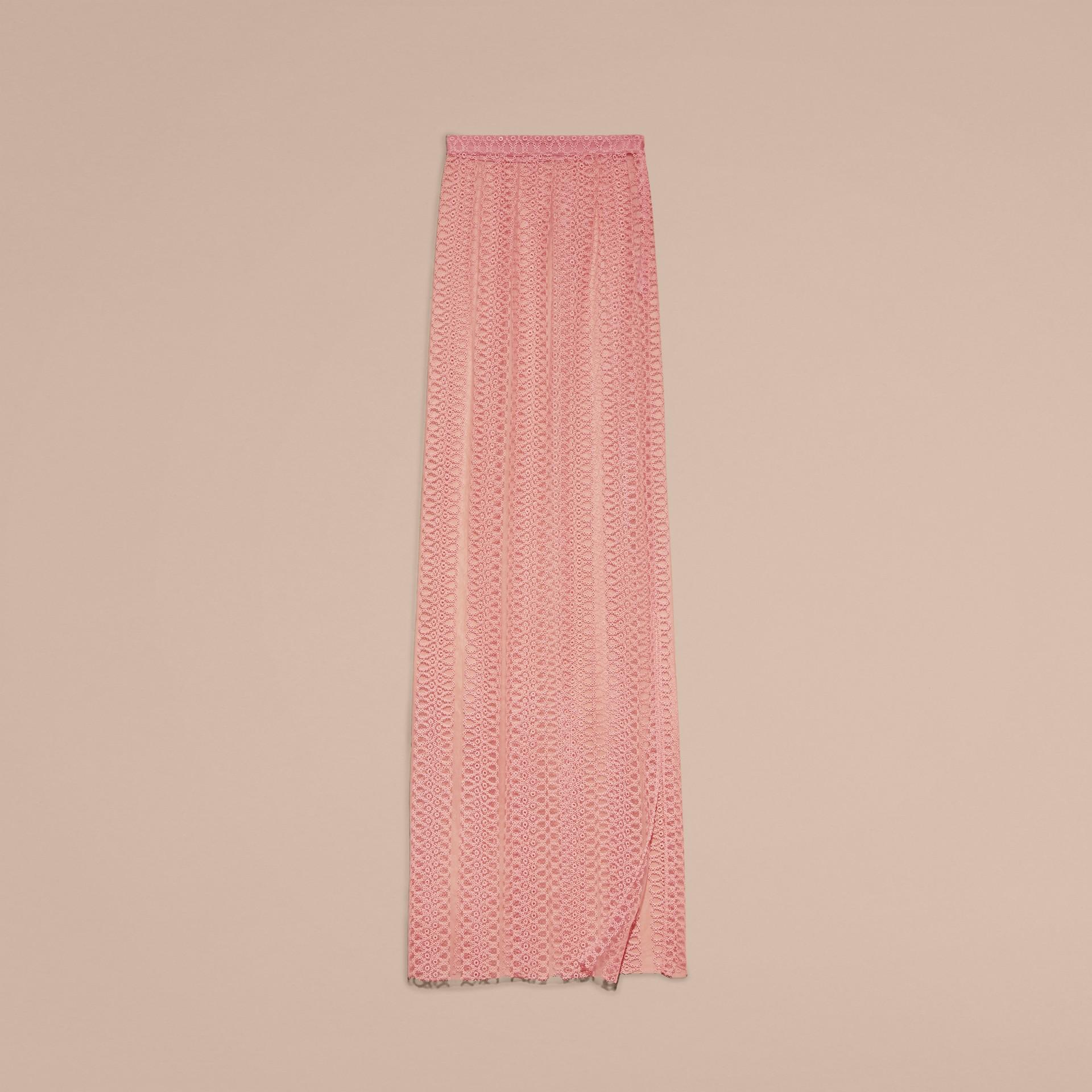 Rosa pallido Gonna a colonna in tulle con fasce ricamate - immagine della galleria 4