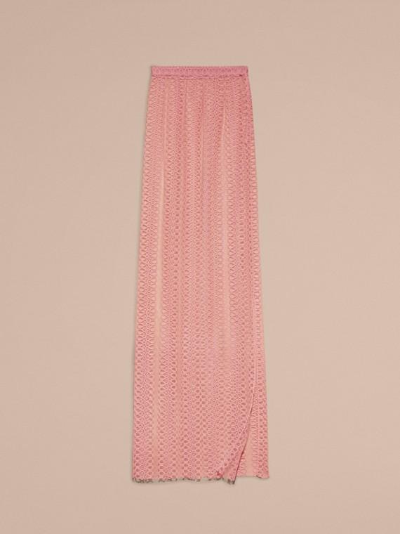 Rosa claro Saia estilo coluna de tule com faixas de bordado - cell image 3