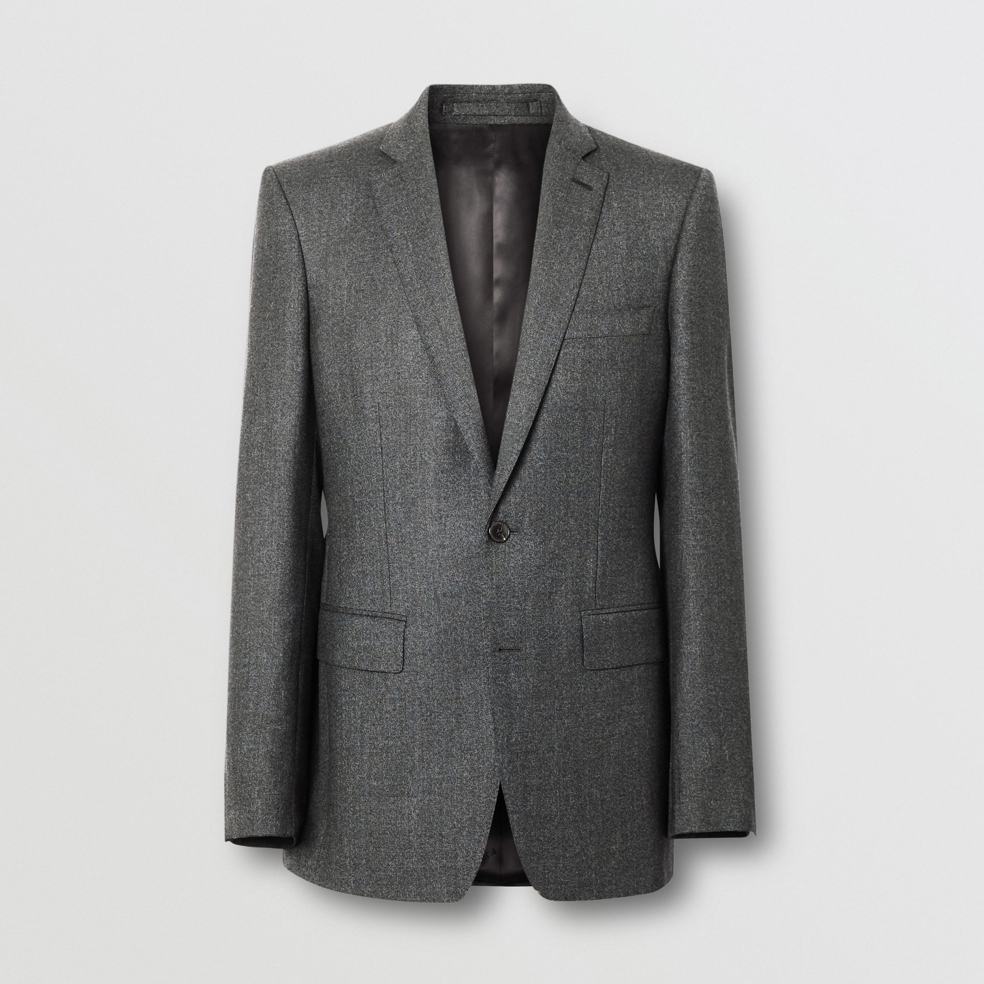 English Fit Sharkskin Wool Suit in Black Melange - Men | Burberry - gallery image 3