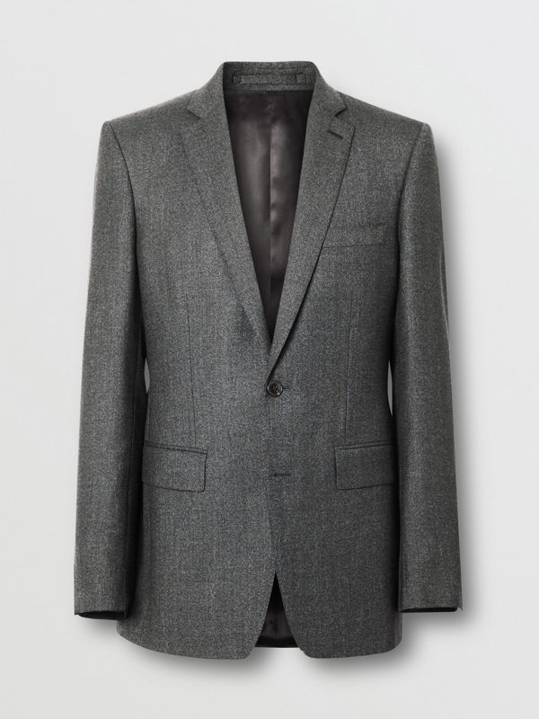 English Fit Sharkskin Wool Suit in Black Melange - Men | Burberry United Kingdom - cell image 3