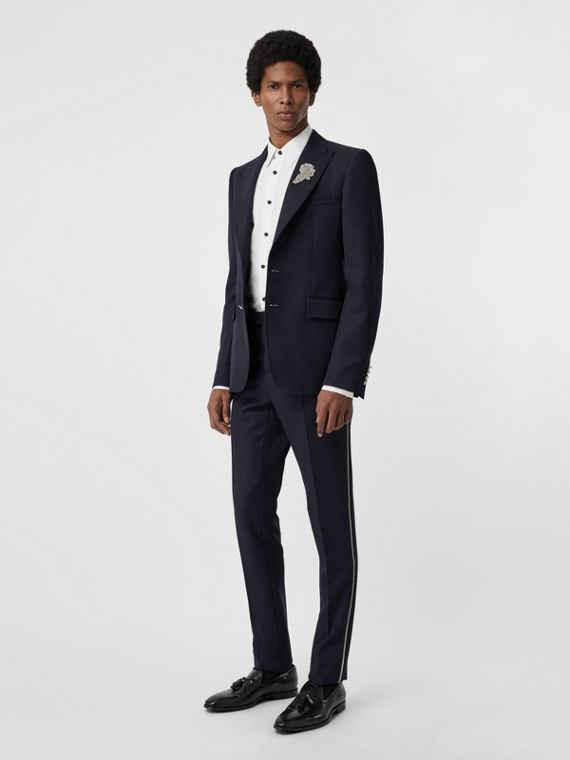 Slim Fit Bullion Stripe Wool Twill Tailored Trousers in Navy