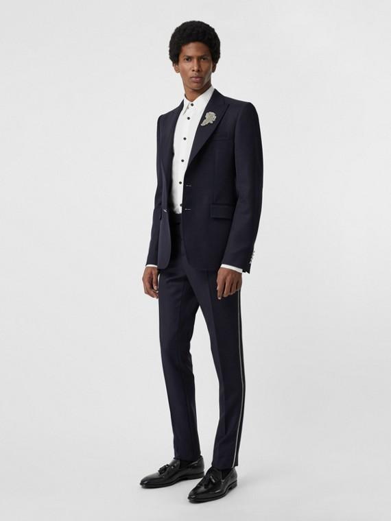 Pantalones de vestir de corte entallado en sarga de lana con detalle trenzado (Azul Marino)