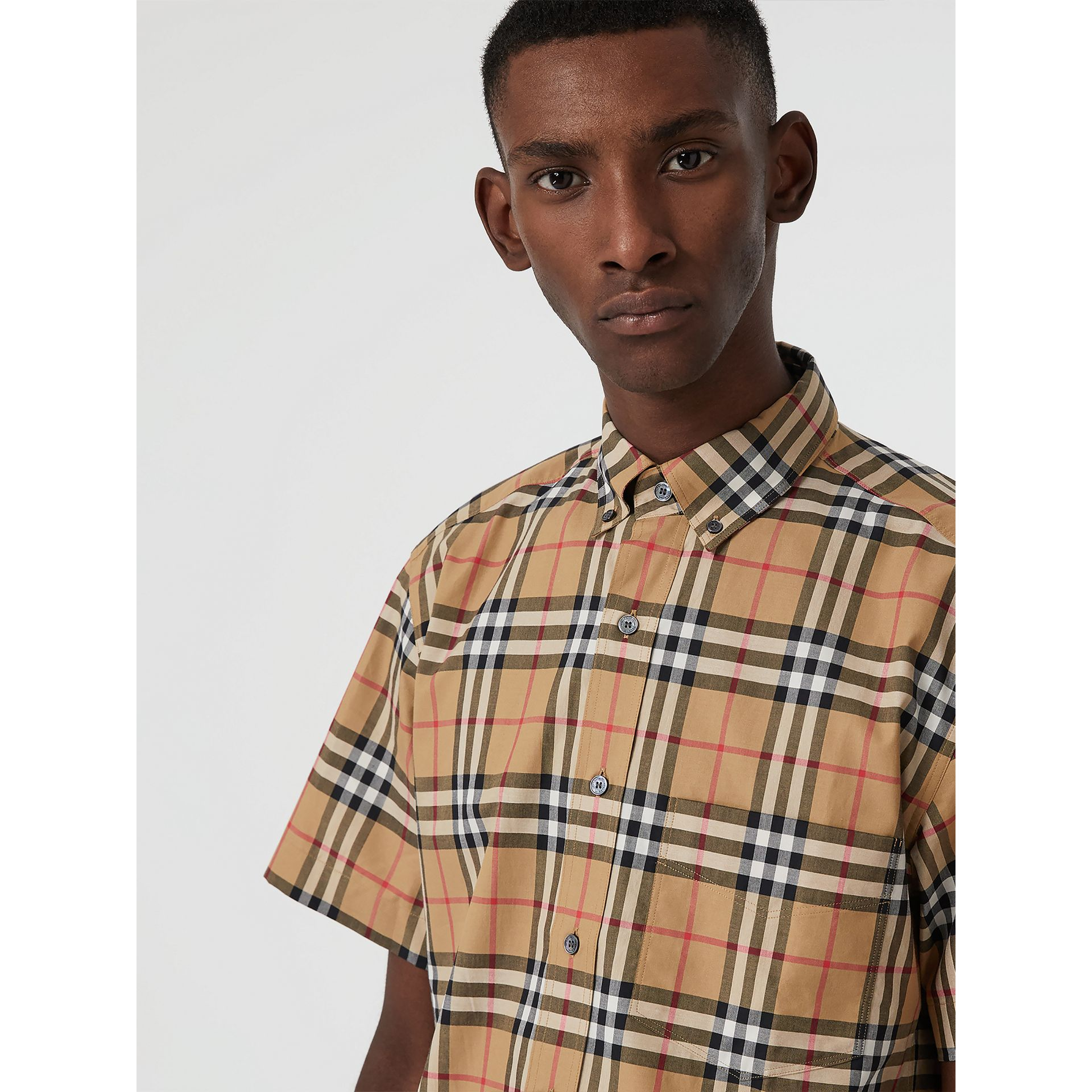 Short-sleeve Vintage Check Shirt in Antique Yellow | Burberry United Kingdom - gallery image 1