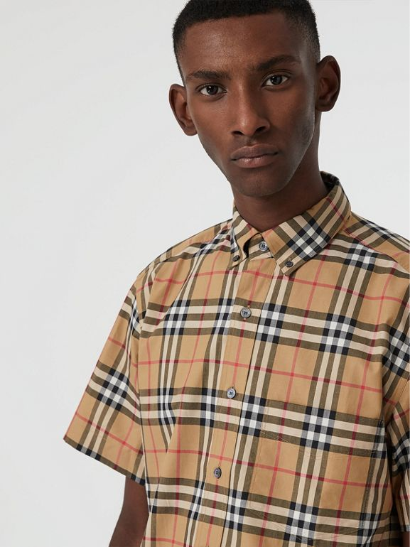 Short-sleeve Vintage Check Shirt in Antique Yellow | Burberry United Kingdom - cell image 1