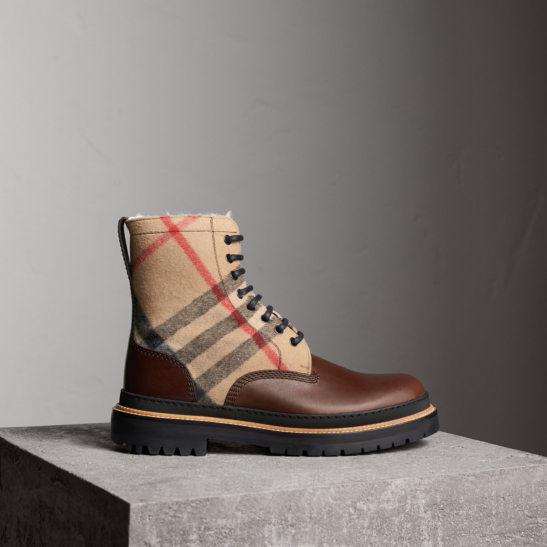 Shearling-lined Leather and Check Boots in Mid Camel - Men | Burberry United Kingdom - gallery image 0