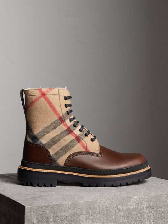 Shearling-lined Leather and Check Boots in Mid Camel