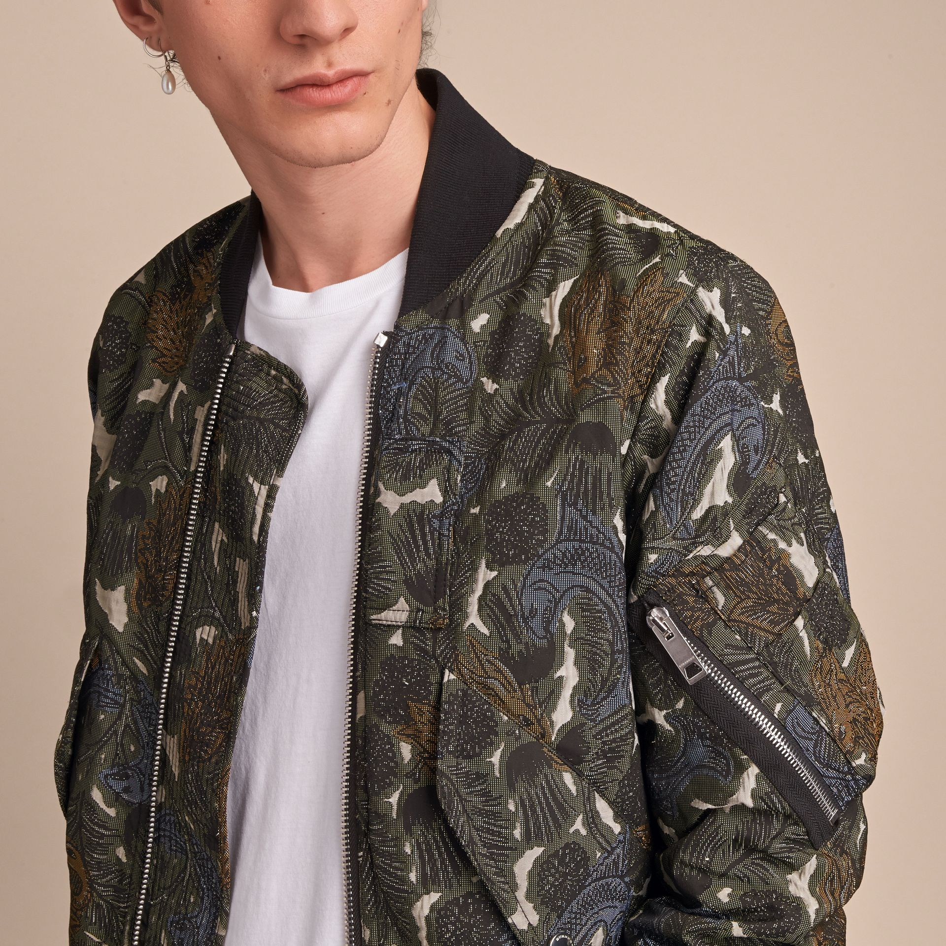 Beasts Print Lightweight Bomber Jacket in Sage Green - Men | Burberry - gallery image 5