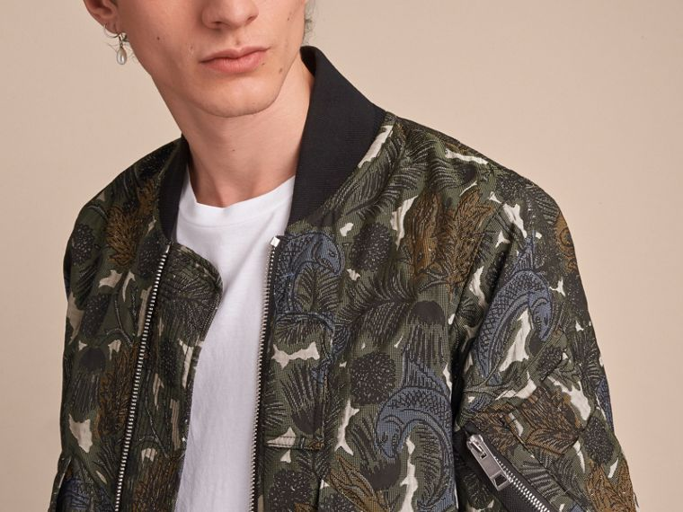 Beasts Print Lightweight Bomber Jacket in Sage Green - Men | Burberry - cell image 4