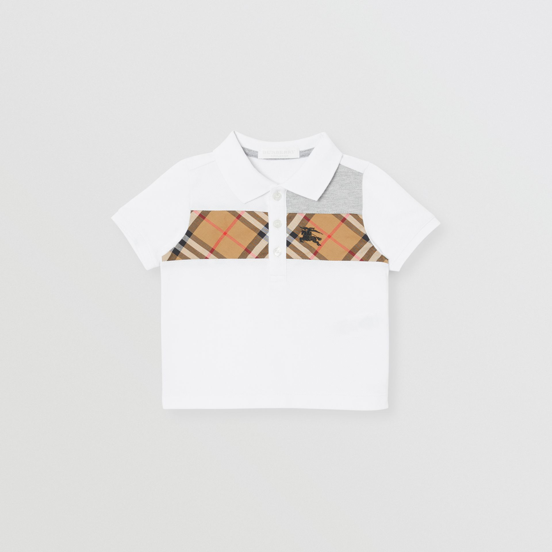 Vintage Check Panel Cotton Polo Shirt in White - Children | Burberry Canada - gallery image 0