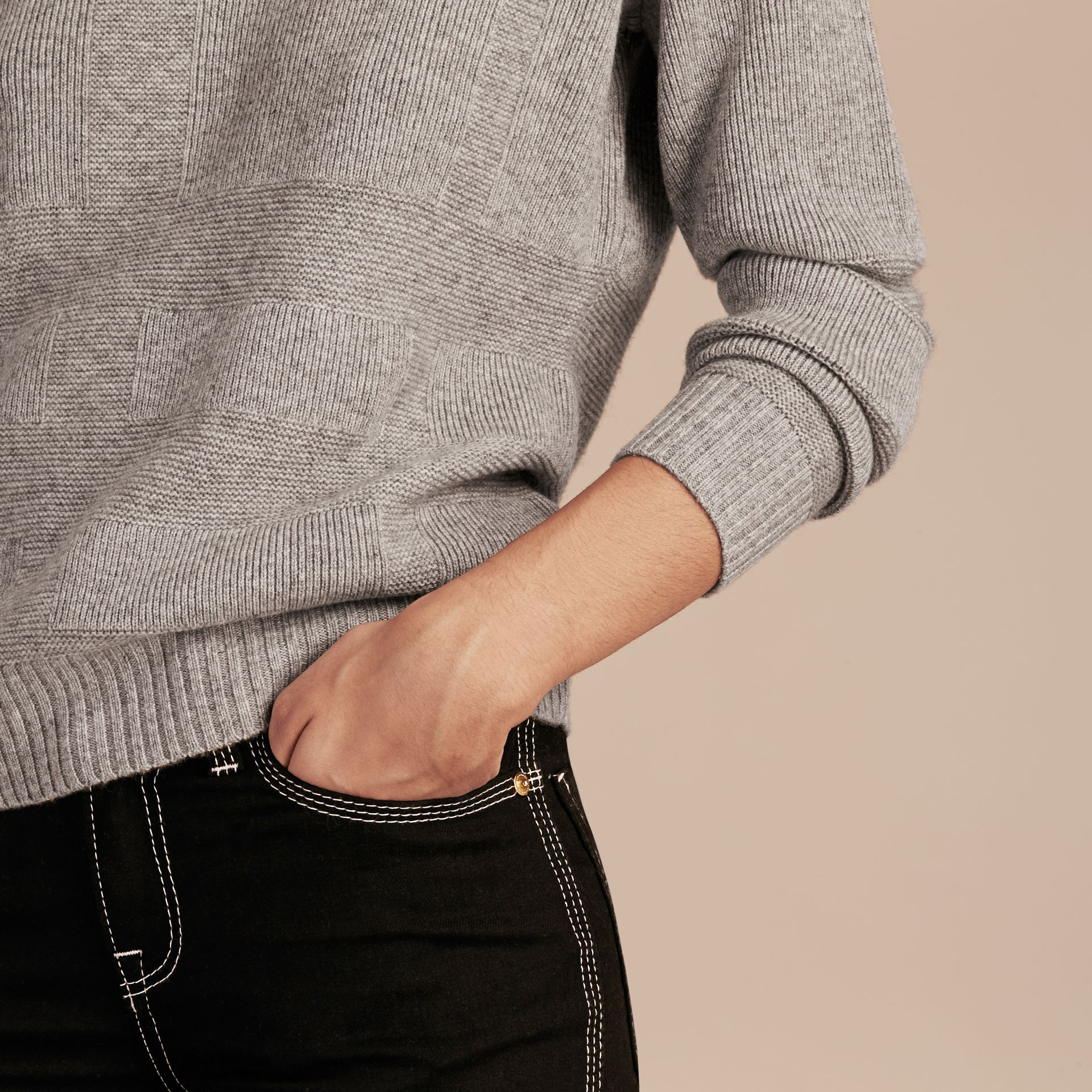 Check-knit Wool Cashmere Sweater Light Grey Melange - gallery image 5