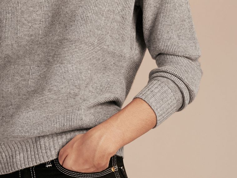 Check-knit Wool Cashmere Sweater Light Grey Melange - cell image 4