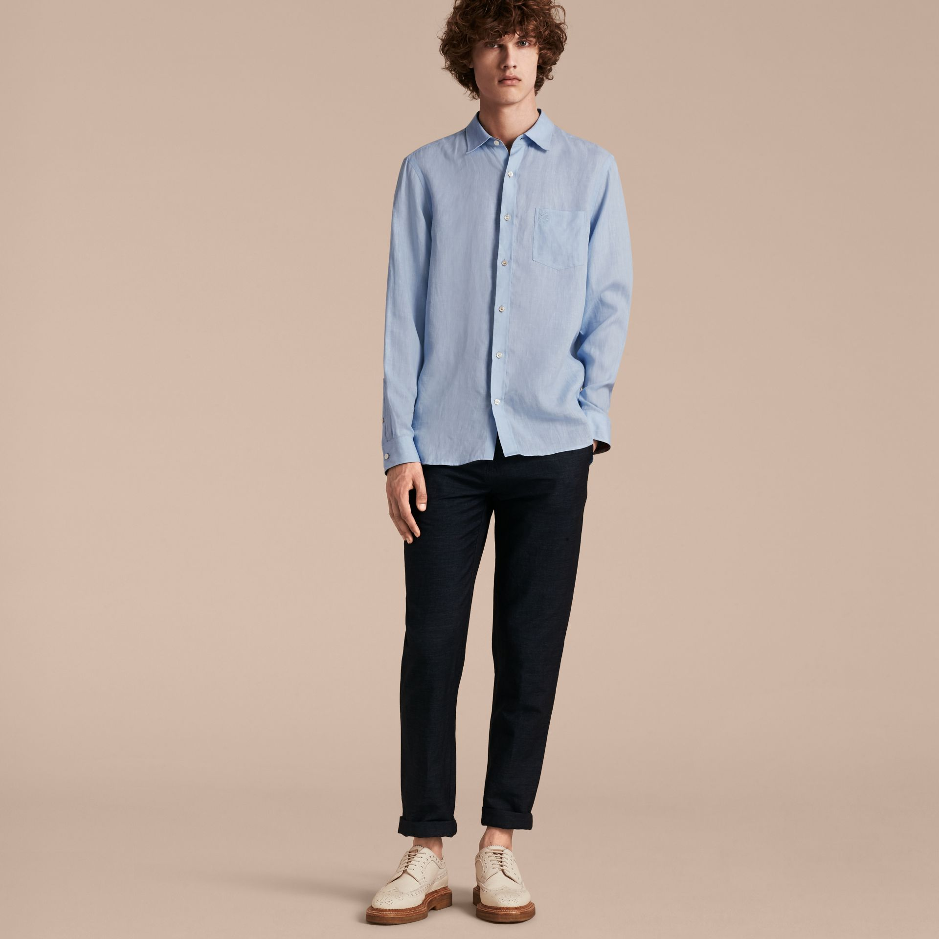Check Detail Linen Shirt in Pale Blue - gallery image 6