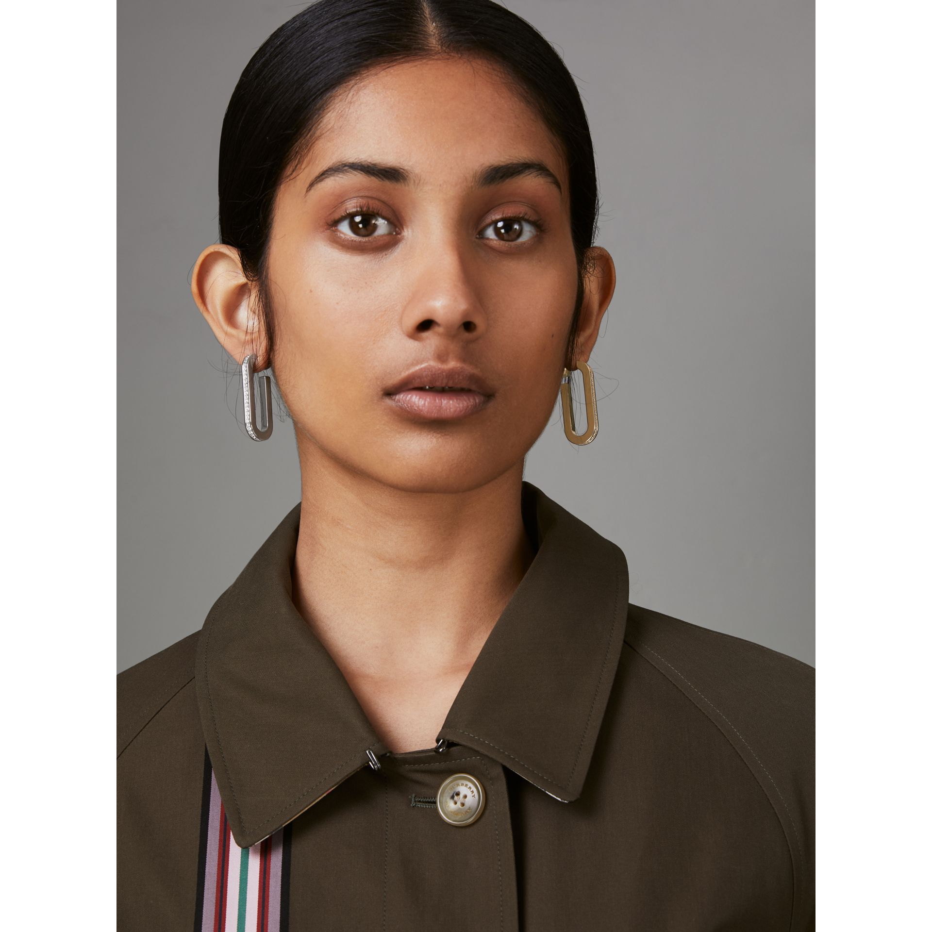 Crystal, Gold and Palladium-plated Link Drop Earrings in Light Gold/palladio - Women | Burberry United Kingdom - gallery image 3