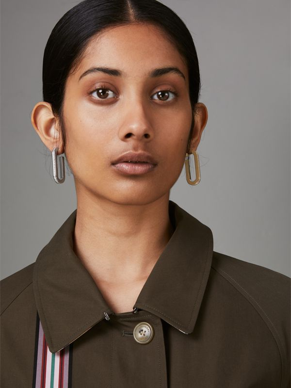 Crystal, Gold and Palladium-plated Link Drop Earrings in Light Gold/palladio - Women | Burberry United Kingdom - cell image 3