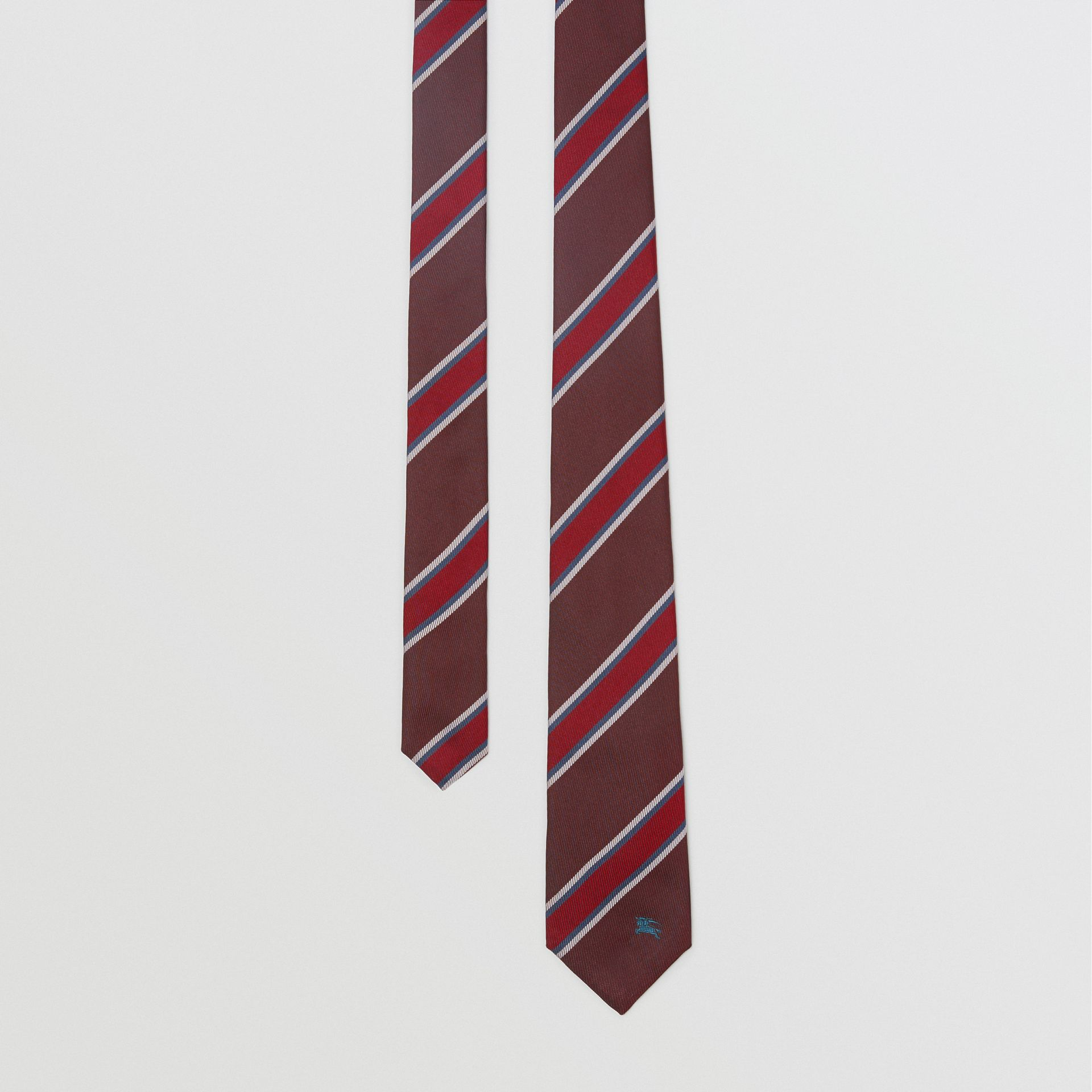 Modern Cut Striped Silk Jacquard Tie in Oxblood - Men | Burberry Hong Kong - gallery image 0