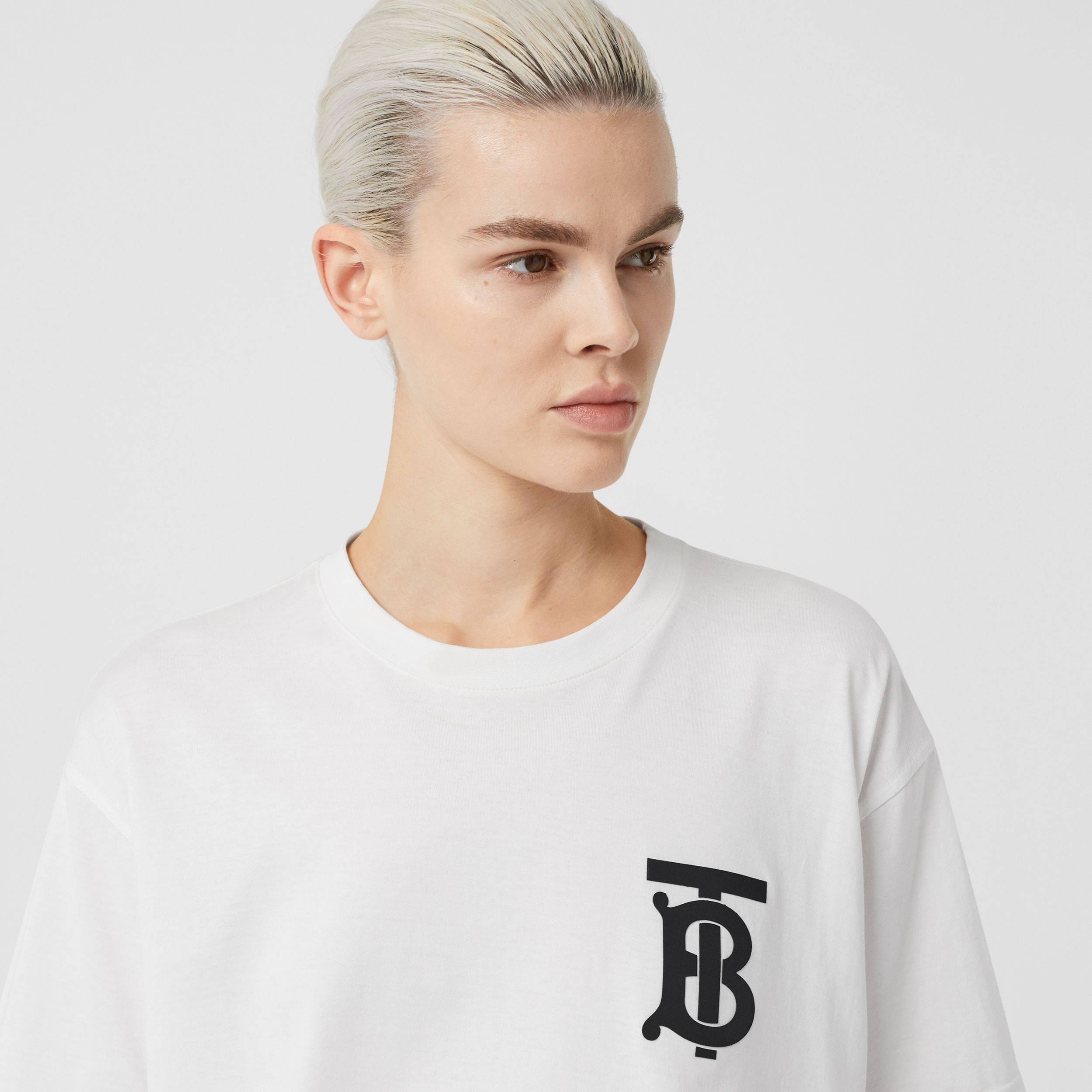 Monogram Motif Cotton Oversized T-shirt in White - Women | Burberry - 2