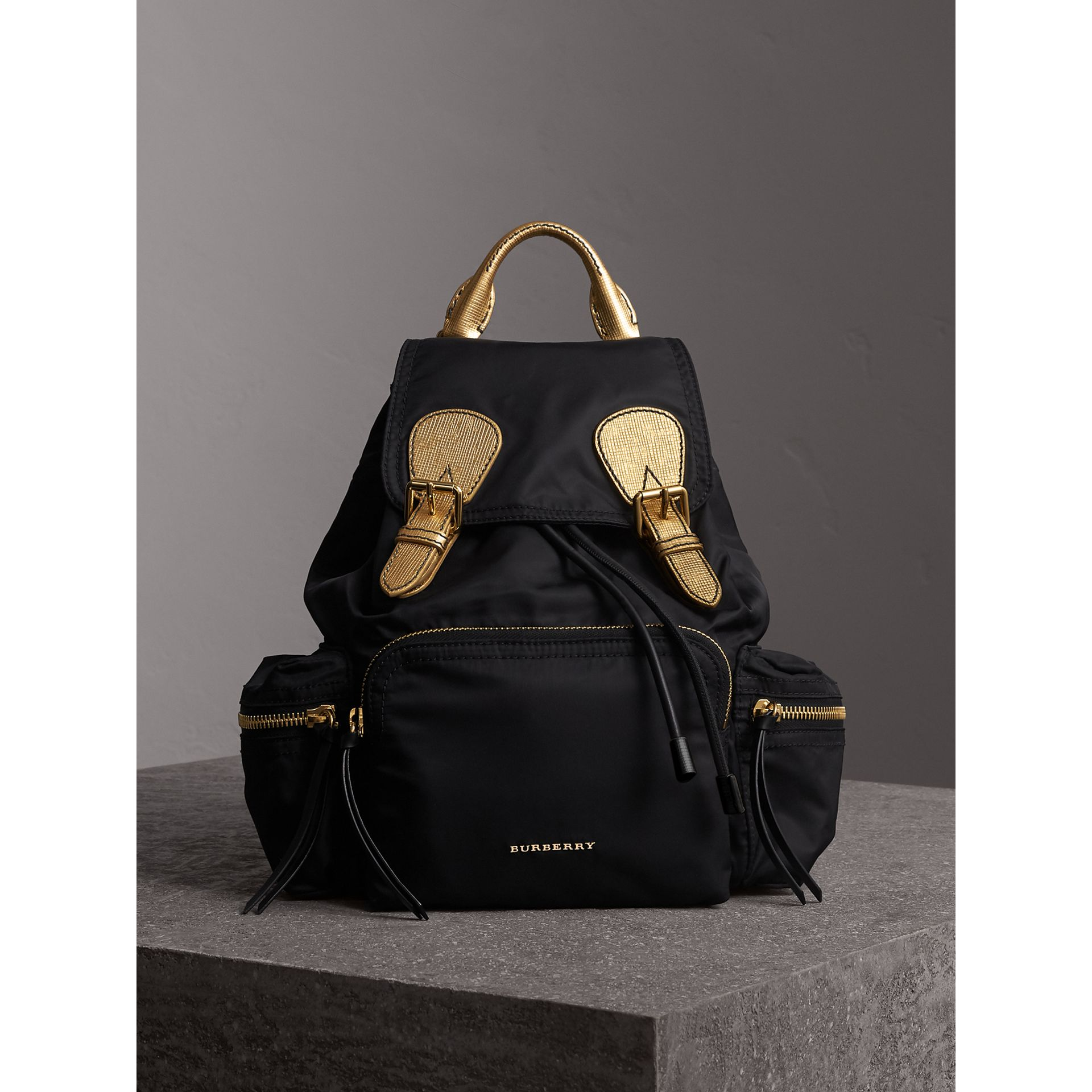 The Medium Rucksack in Two-tone Nylon and Leather in Black/gold - Women | Burberry Hong Kong - gallery image 6