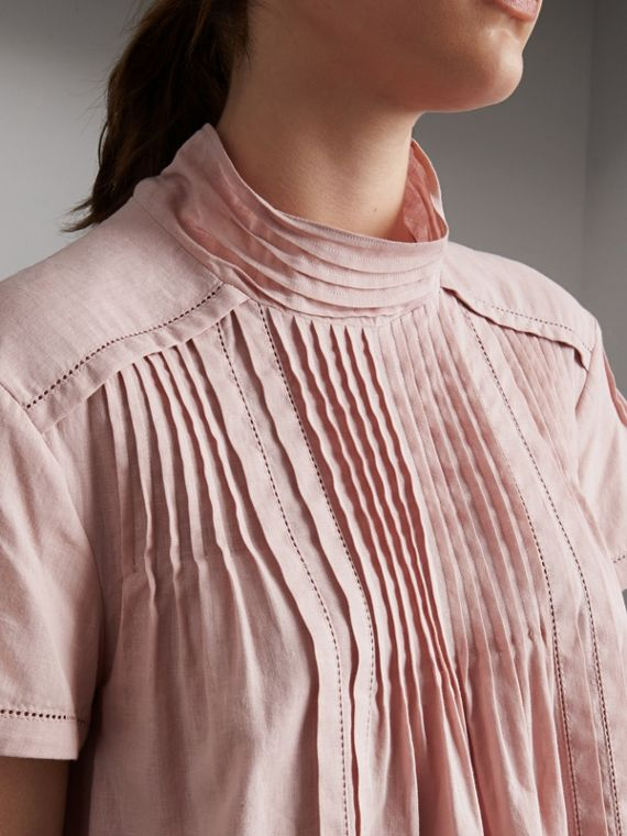 Pintuck Pleated Linen Cotton Dress in Thistle Pink - Women | Burberry Hong Kong - cell image 2