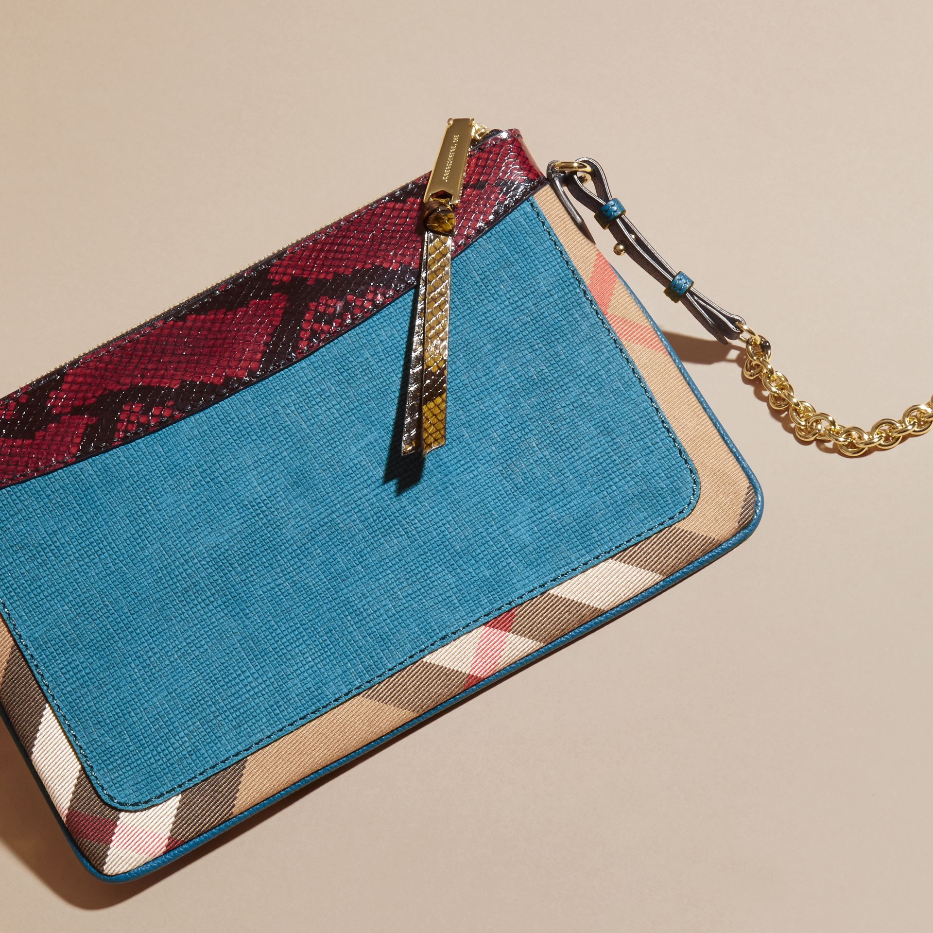 Leather, House Check and Snakeskin Clutch Bag in Peacock Blue - Women | Burberry - gallery image 5