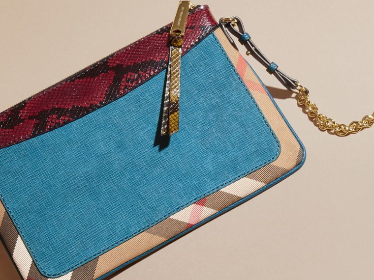 Leather, House Check and Snakeskin Clutch Bag in Peacock Blue - Women | Burberry - cell image 4