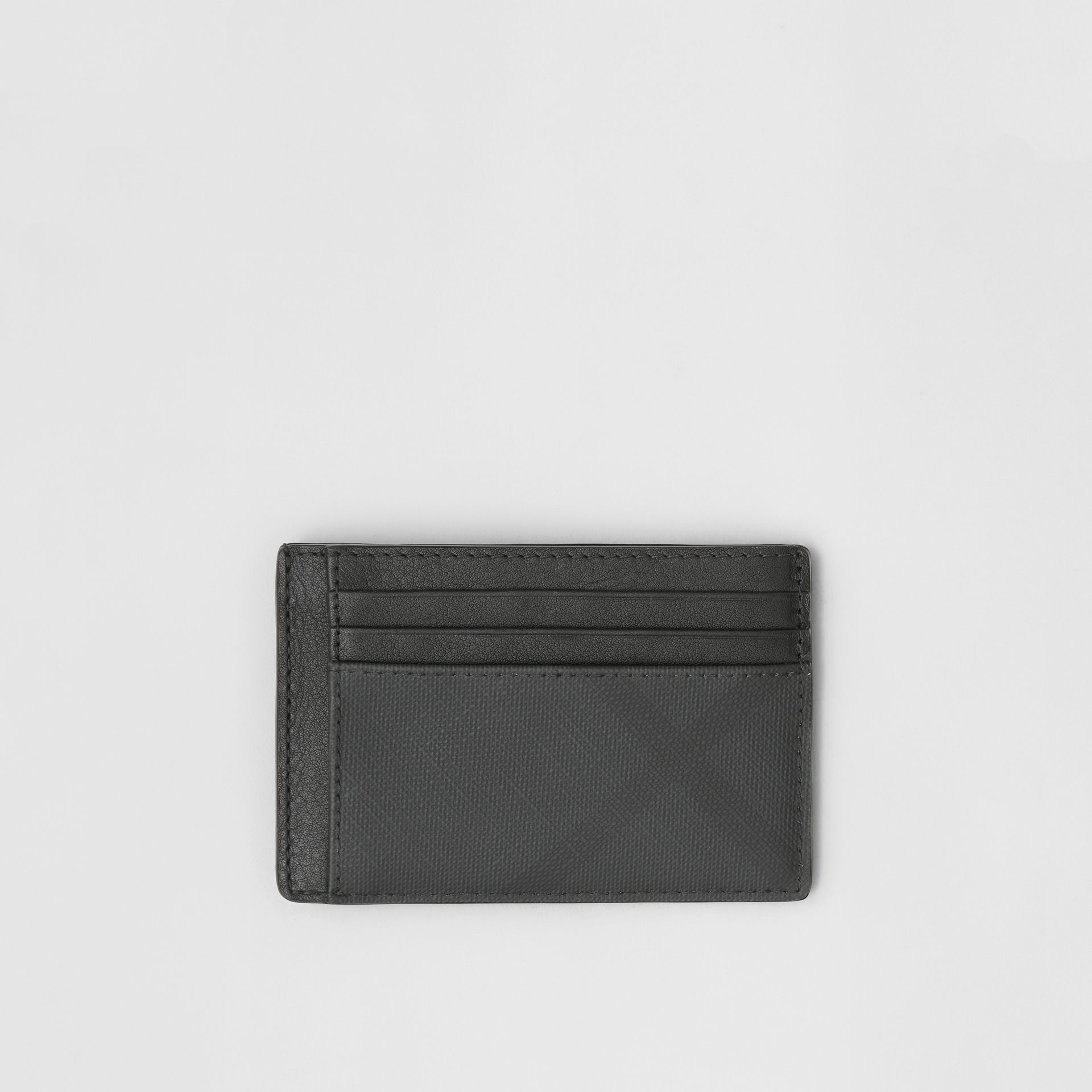 London Check and Leather Money Clip Card Case in Dark Charcoal - Men | Burberry - gallery image 0