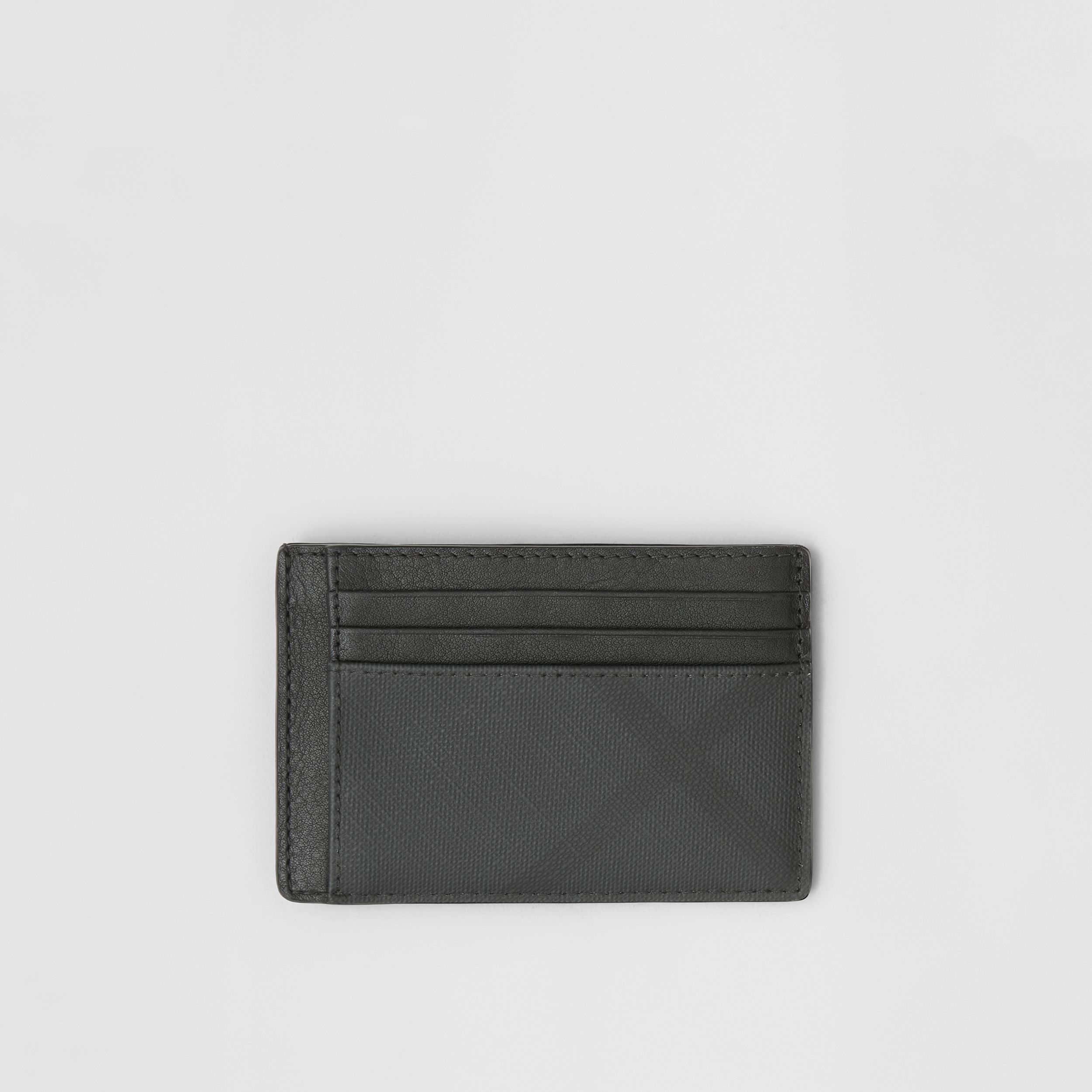 London Check and Leather Money Clip Card Case in Dark Charcoal - Men | Burberry - 1