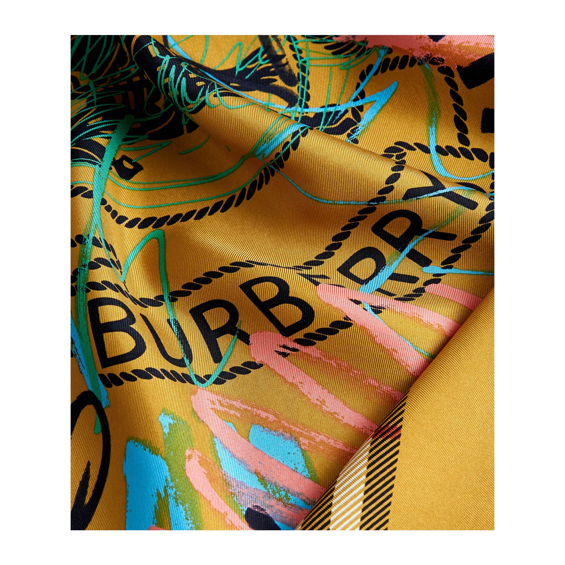 Scribble Archive Logo Silk Square Scarf in Amber Yellow | Burberry United Kingdom - gallery image 1
