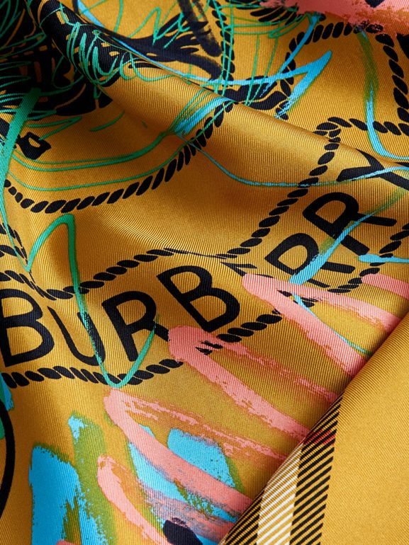 Scribble Archive Logo Silk Square Scarf in Amber Yellow | Burberry United States - cell image 1