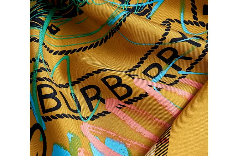 Scribble Archive Logo Silk Square Scarf in Amber Yellow | Burberry - cell image 1