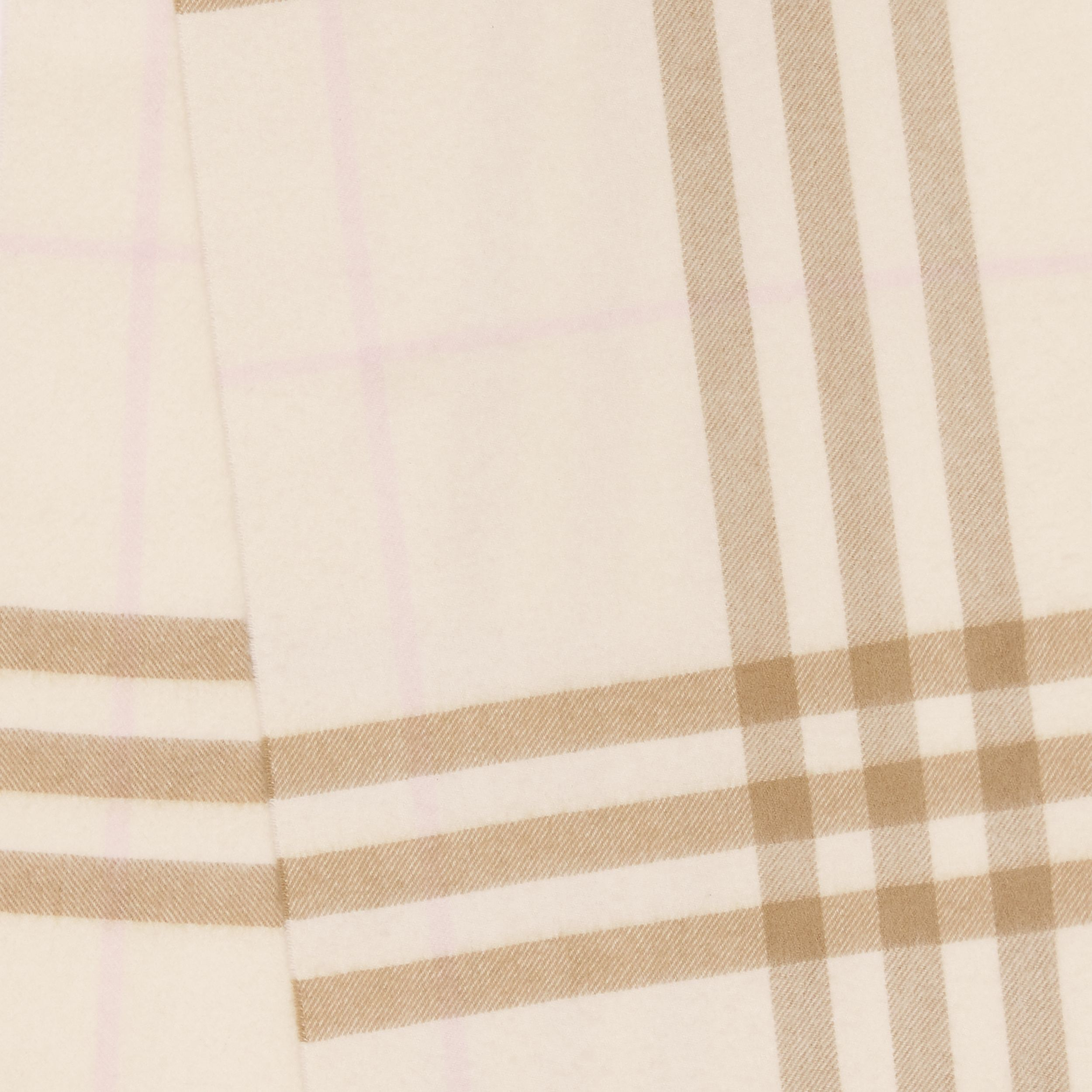 The Classic Check Cashmere Scarf in White / Alabaster | Burberry - 2