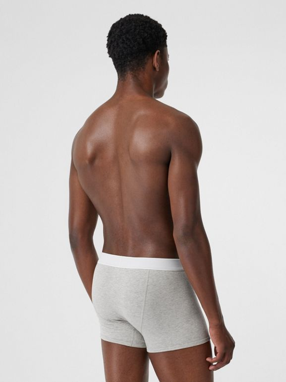 Logo Detail Stretch Cotton Boxer Shorts in Pale Grey Melange - Men | Burberry Canada - cell image 1