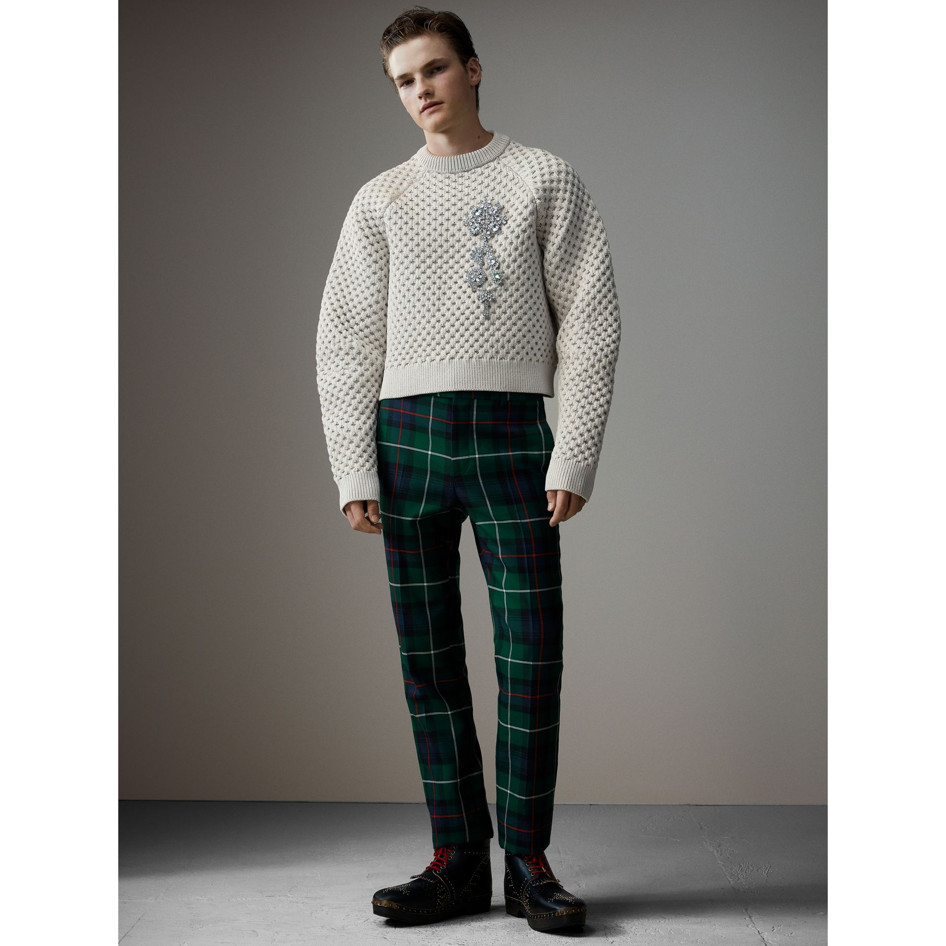 Tartan Wool Cropped Tailored Trousers in Forest Green - Men | Burberry - gallery image 1