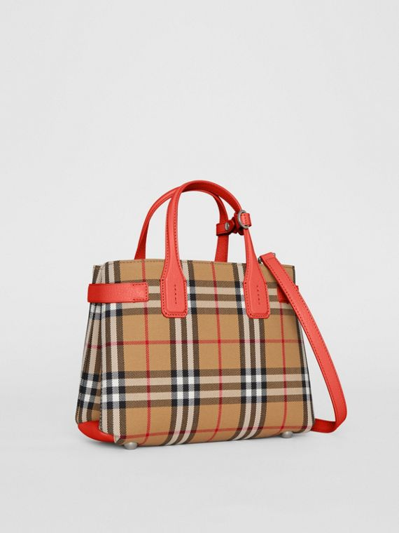 The Small Banner in Vintage Check and Leather in Bright Red