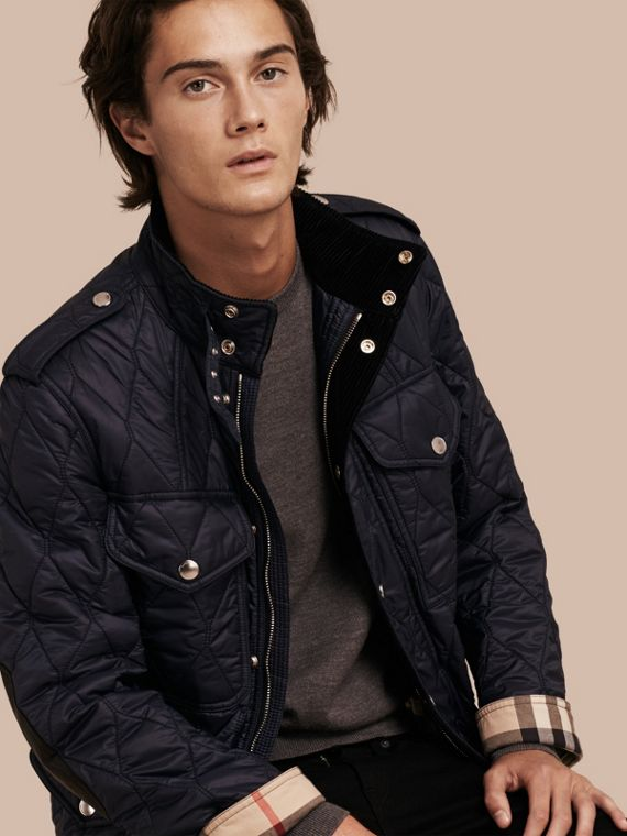 Diamond Quilted Field Jacket in Navy