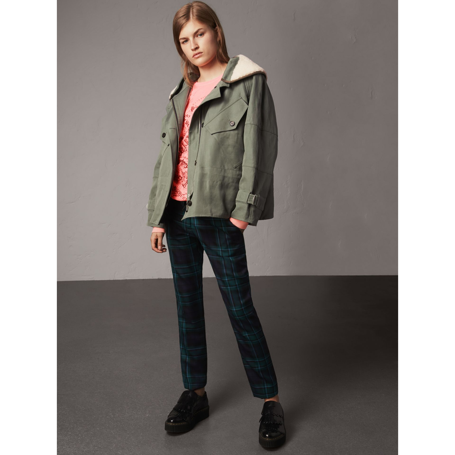 Ramie Cotton Jacket with Shearling Warmer in Slate Green - Women | Burberry United Kingdom - gallery image 0