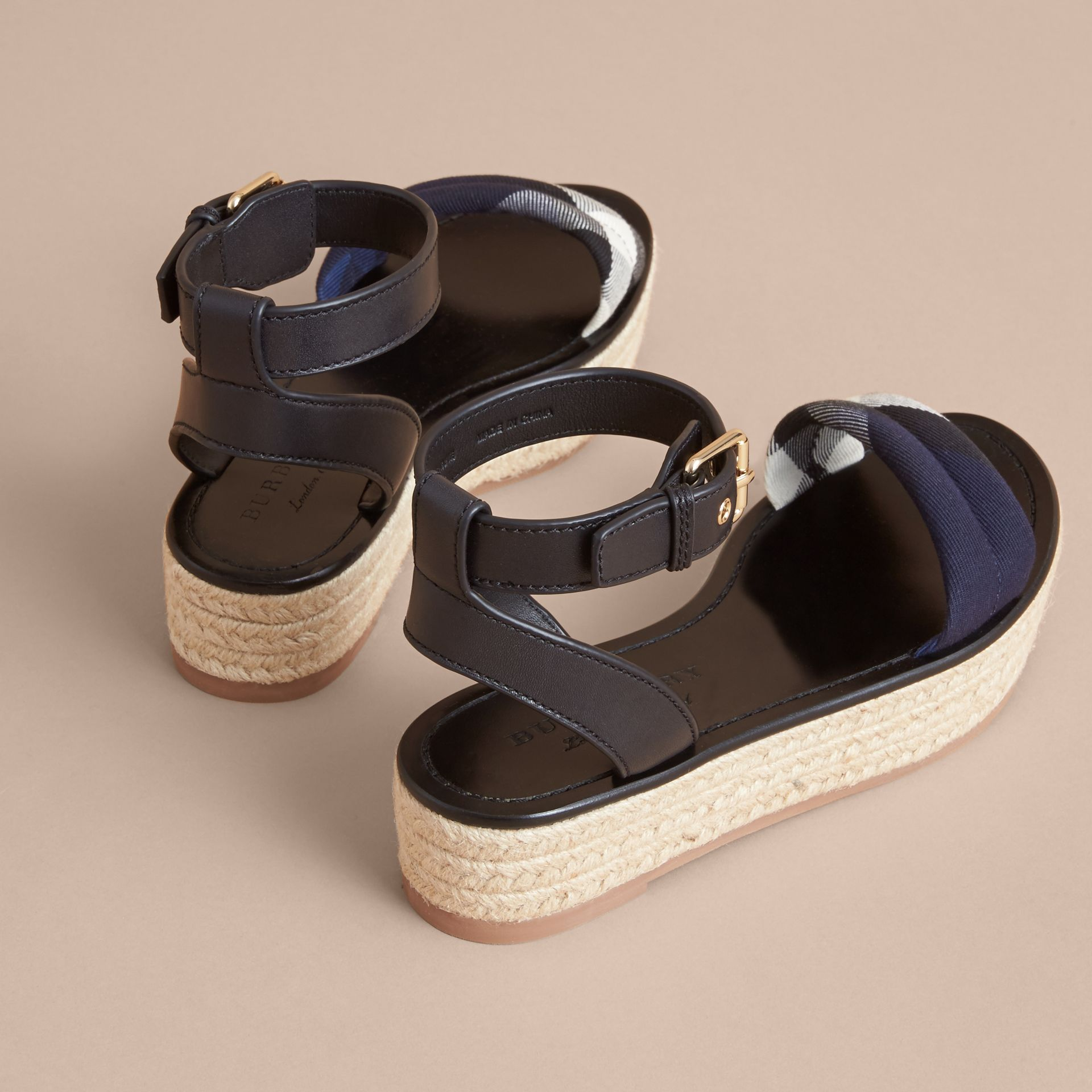Leather and House Check Espadrille Platform Sandals Navy - gallery image 5