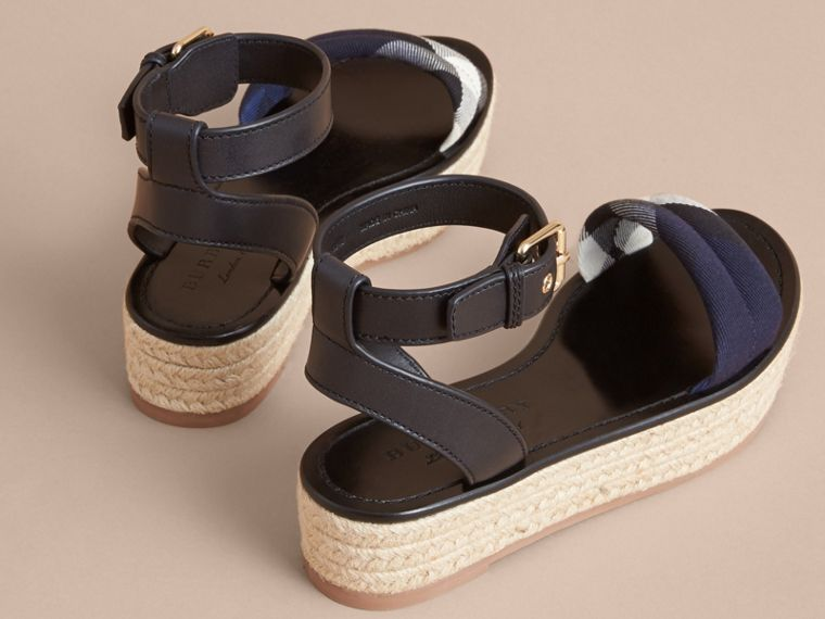Leather and House Check Espadrille Platform Sandals Navy - cell image 4