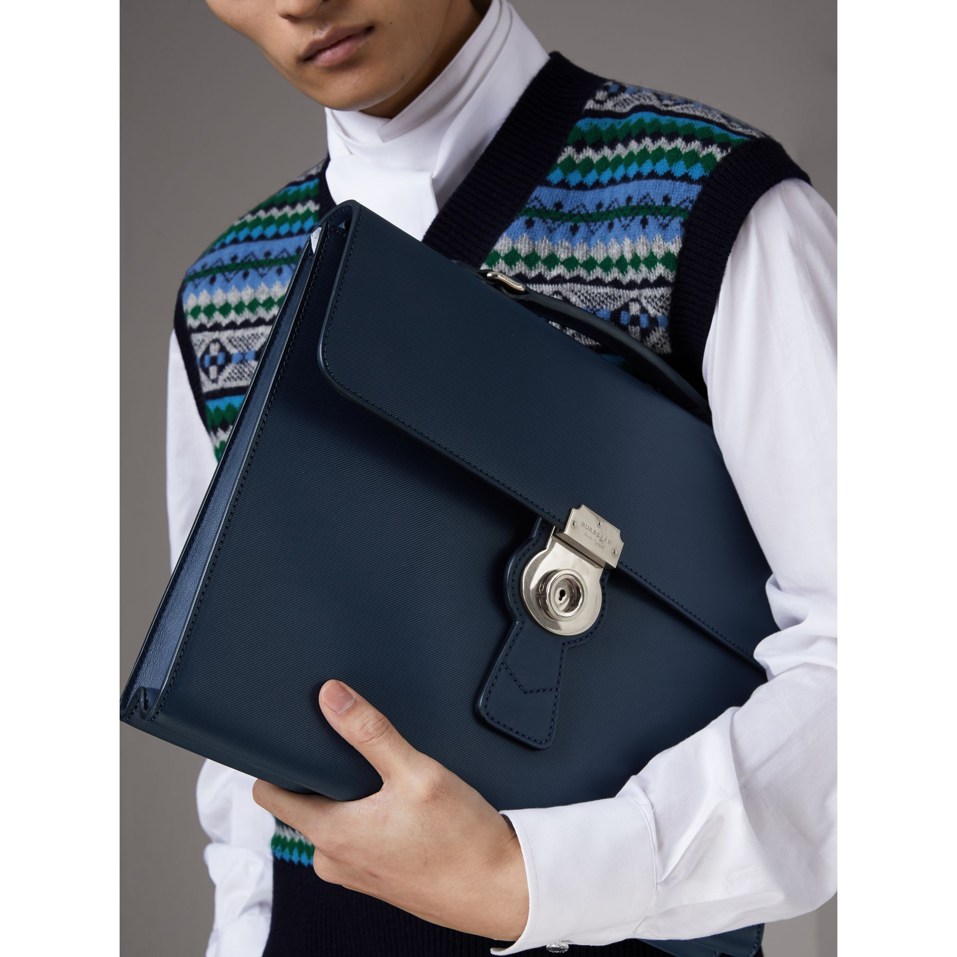 The Large DK88 Document Case in Ink Blue - Men | Burberry - gallery image 3
