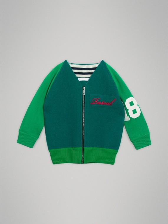 Jaqueta de beisebol em lã Merino e algodão (Verde Floresta)