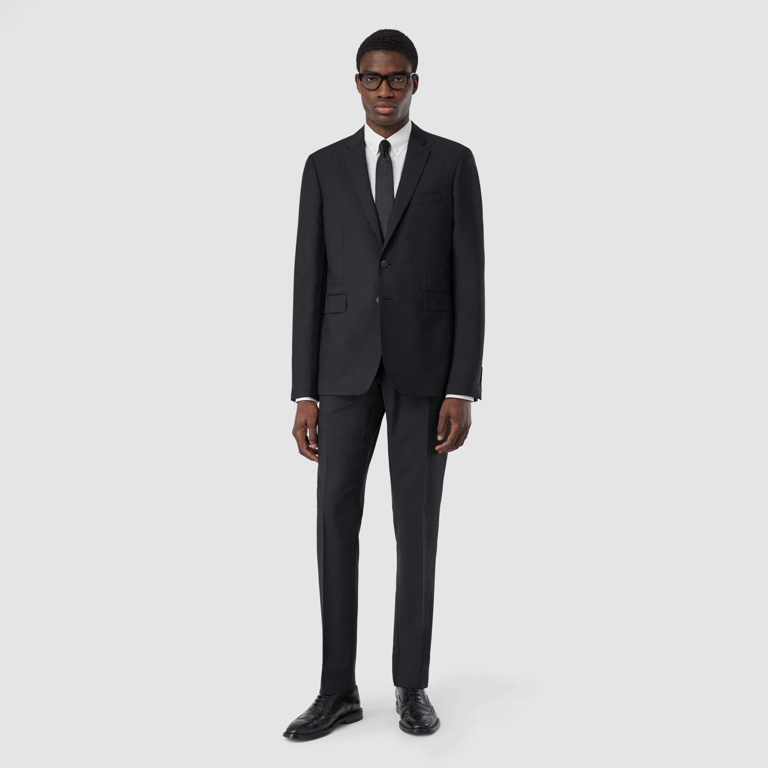 Slim Fit Wool Mohair Suit in Black - Men | Burberry - 1