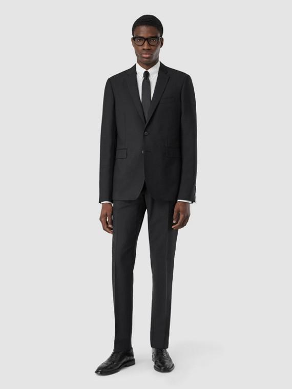 スリムフィット ウールモヘア スーツ (ブラック)